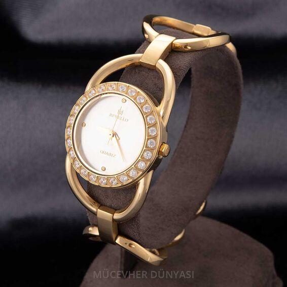 Mücevher Dünyası - Revello Altın Sarısı Metal Kordonlu Sırataşlı Bayan Kol Saati 80033226