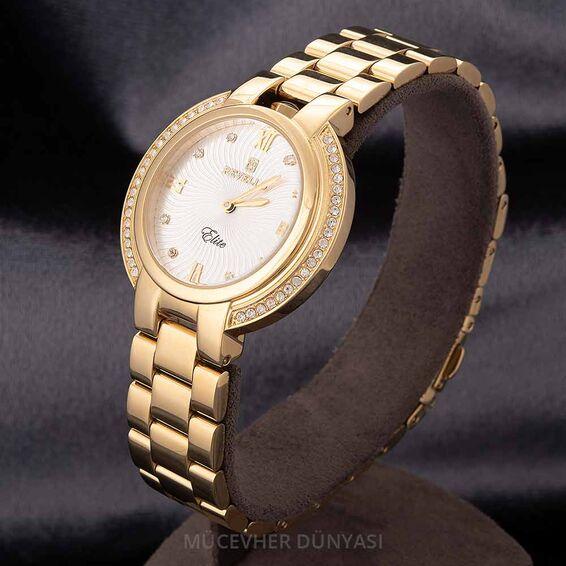 Mücevher Dünyası - Revello Altın Sarısı Metal Kordonlu Sırataşlı Bayan Kol Saati 80043225
