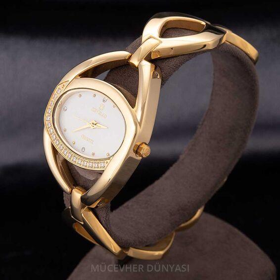 Mücevher Dünyası - Revello Altın Sarısı Metal Kordonlu Sırataşlı Kadın Kol Saati 80044820