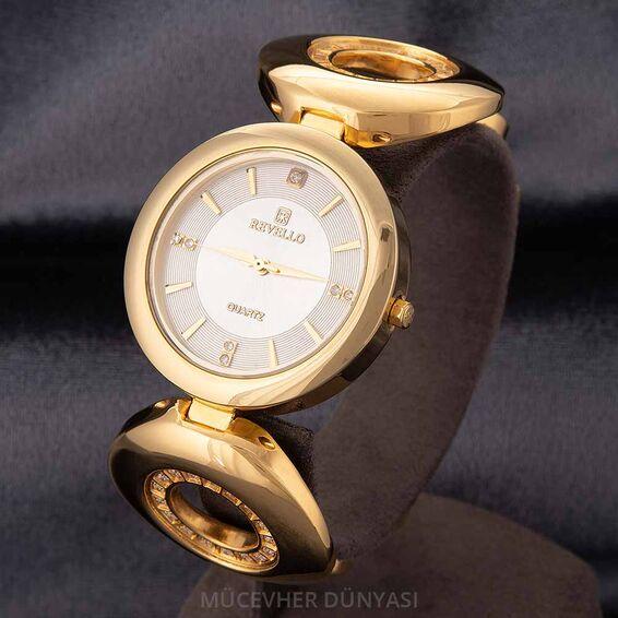 Mücevher Dünyası - Revello Altın Sarısı Metal Kordonlu Taşlı Kadın Kol Saati 80021179