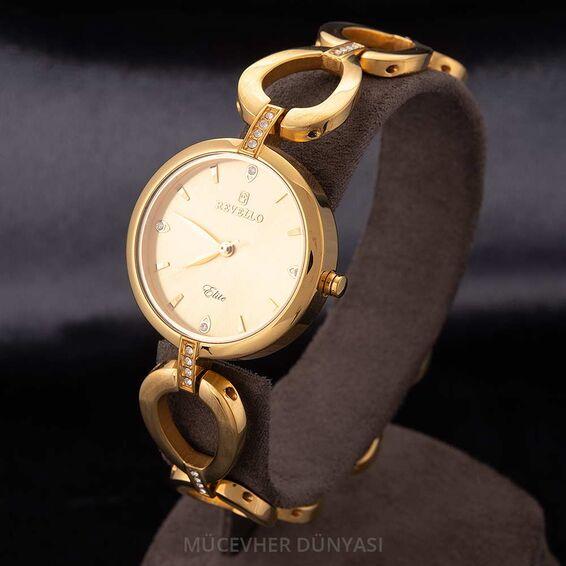 Mücevher Dünyası - Revello Altın Sarısı Metal Kordonlu Taşlı Bayan Kol Saati 80033233