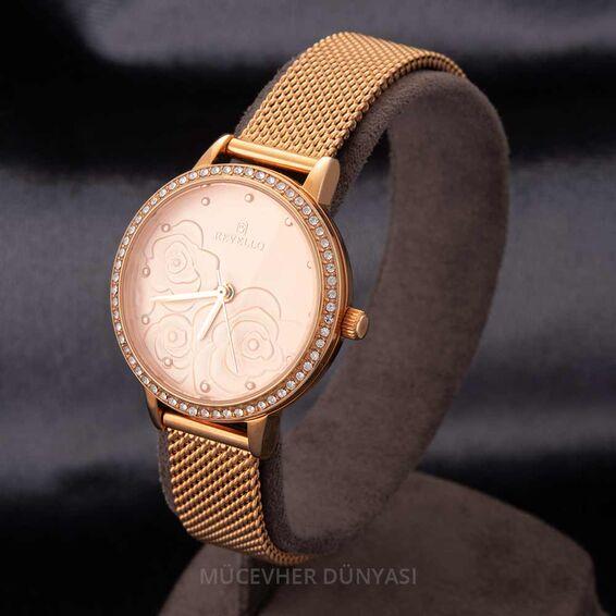 Mücevher Dünyası - Revello Bakır Renkli Hasır Kordonlu Sırataşlı Kadın Kol Saati 80042686