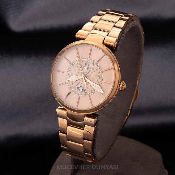 Mücevher Dünyası - Revello Bakır Renkli Metal Kordonlu Kadın Kol Saati 80043034