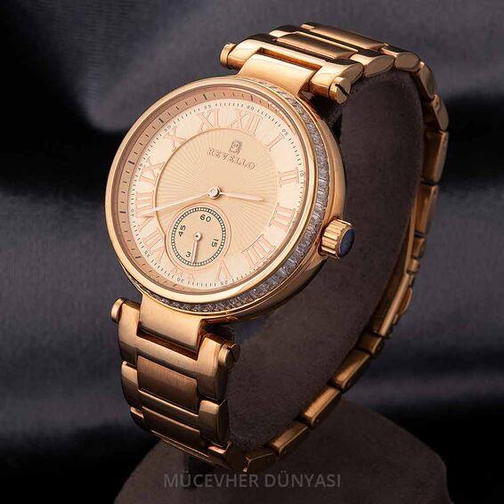 Mücevher Dünyası - Revello Bakır Renkli Metal Kordonlu Sırataşlı Kadın Kol Saati 80006435