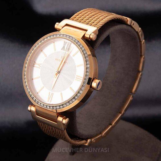 Mücevher Dünyası - Revello Bakır Renkli Metal Kordonlu Sırataşlı Bayan Kol Saati 80034834