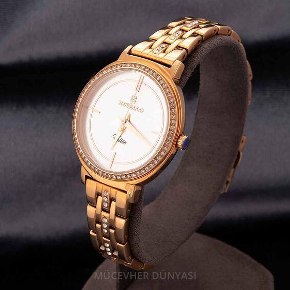 Mücevher Dünyası - Revello Bakır Renkli Metal Kordonlu Sırataşlı Kadın Kol Saati 80041955