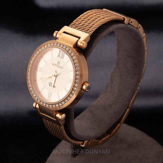 Mücevher Dünyası - Revello Bakır Renkli Metal Kordonlu Sırataşlı Kadın Kol Saati 80043089