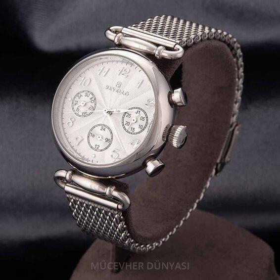 Mücevher Dünyası - Revello Gri Hasır Metal Kordonlu Erkek Kol Saati 80037101