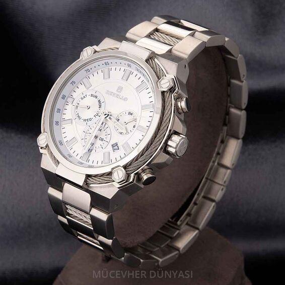 Mücevher Dünyası - Revello Gri Renkli Metal Kordonlu Erkek Kol Saati 80036876