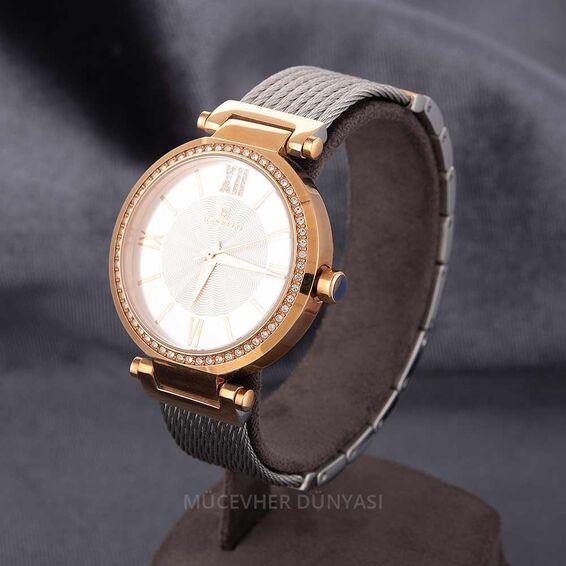 Mücevher Dünyası - Revello Gri Renkli Metal Kordonlu Sırataşlı Bayan Kol Saati 80034811