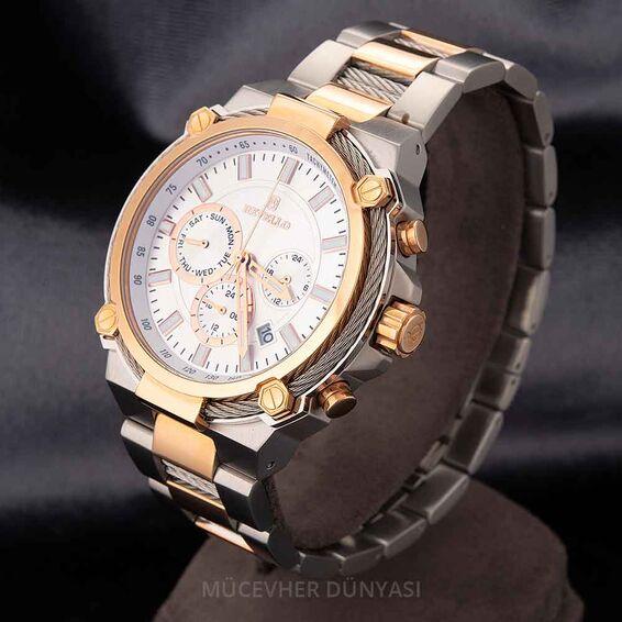 Mücevher Dünyası - Revello Gri ve Altın Sarısı Metal Kordon Erkek Kol Saati 80036012