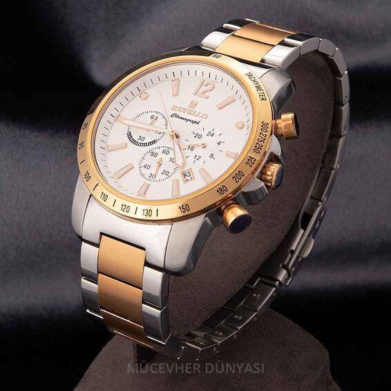Mücevher Dünyası - Revello Gri Ve Altın Sarısı Metal Kordonlu Erkek Kol Saati 80039243