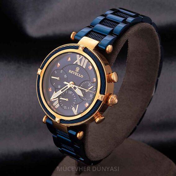 Mücevher Dünyası - Revello Lacivert Metal Kordonlu Erkek Kol Saati 80012580