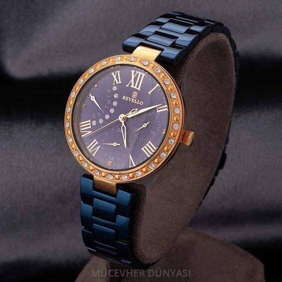 Mücevher Dünyası - Revello Lacivert Metal Kordonlu Sırataşlı Bayan Kol Saati 80042358