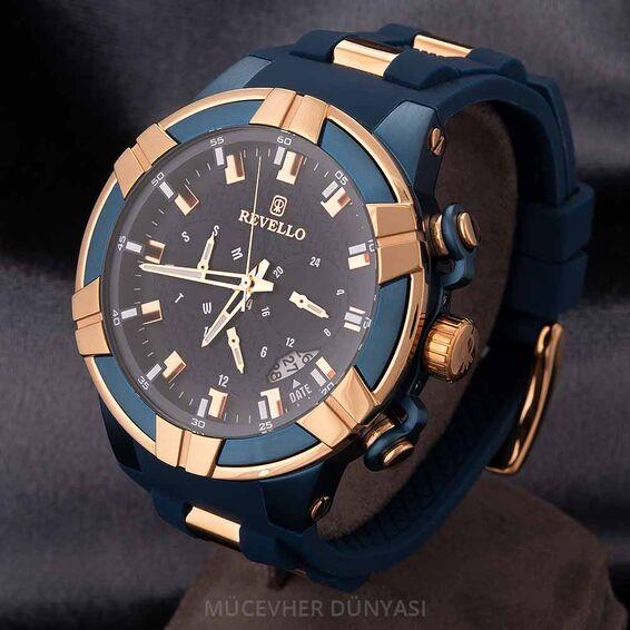 Mücevher Dünyası - Revello Lacivert Silikon Kordonlu Erkek Kol Saati 80043706