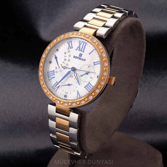 Mücevher Dünyası - Revello Metal Kordonlu Sırataşlı Kadın Kol Saati 80042310