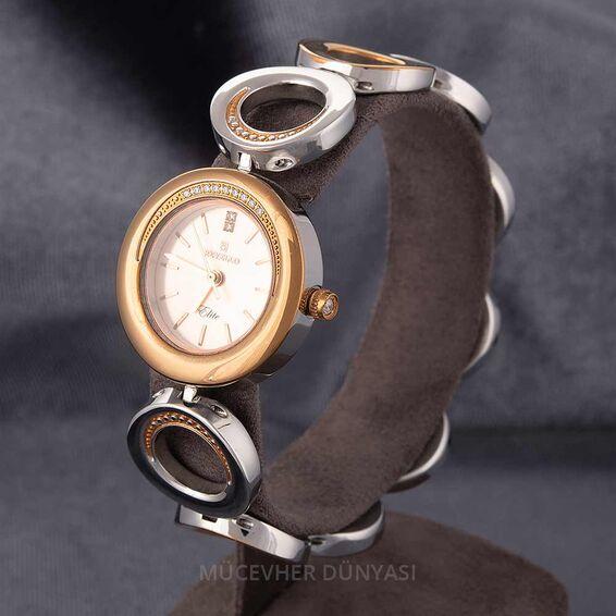 Mücevher Dünyası - Revello Metal Kordonlu Taşlı Kadın Kol Saati 80036005