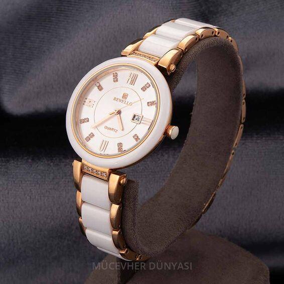 Mücevher Dünyası - Revello Metal ve Porselen Kordonlu Taşlı Kadın Kol Saati 80041658