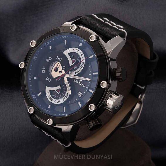 Mücevher Dünyası - Revello Siyah Deri Kordonlu Erkek Kol Saati 80040347