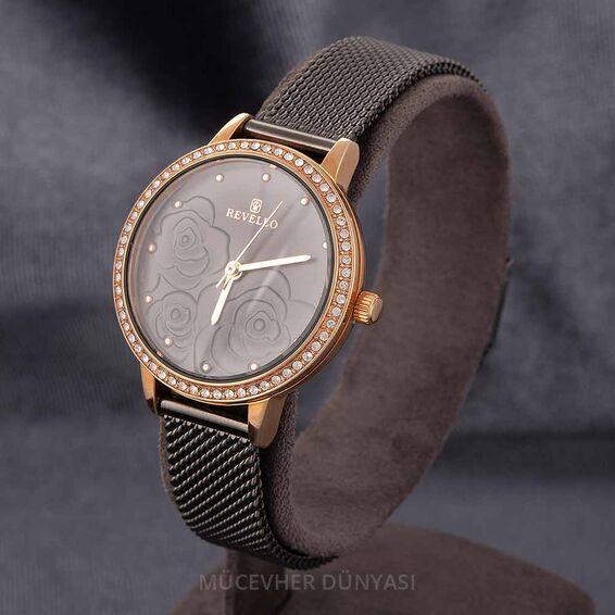 Mücevher Dünyası - Revello Siyah Hasır Kordonlu Sırataşlı Kadın Kol Saati 80042679