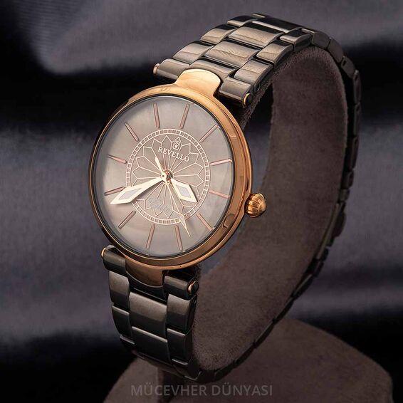 Mücevher Dünyası - Revello Siyah Metal Kordonlu Kadın Kol Saati 80043201