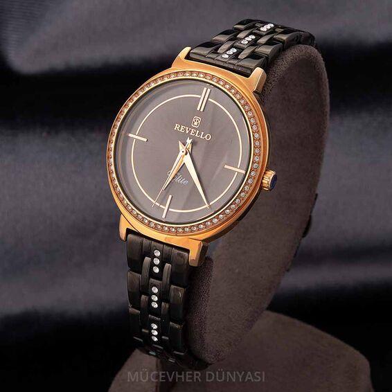 Mücevher Dünyası - Revello Siyah Metal Kordonlu Sırataşlı Kadın Kol Saati 80041979