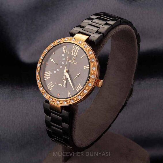 Mücevher Dünyası - Revello Siyah Metal Kordonlu Sırataşlı Kadın Kol Saati 80042334