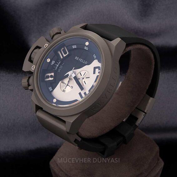Mücevher Dünyası - Revello Siyah Silikon Kordonlu Erkek Kol Saati 80040000