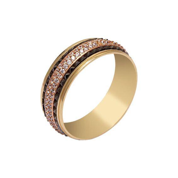 Mücevher Dünyası - 14 Ayar Rose Taşlı İşlemeli Altın Alyans (Kadın)
