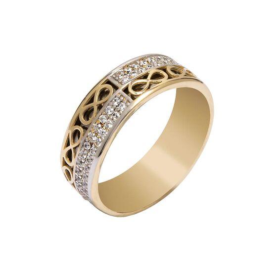 Mücevher Dünyası - 14 Ayar Taşlı Sonsuzluk Altın Alyans (Kadın)