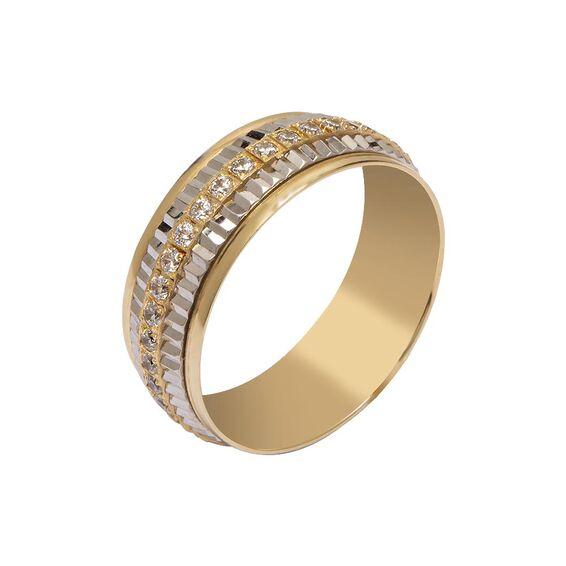 Mücevher Dünyası - 14 Ayar Taşlı Tam Tur Özel Tasarım Altın Alyans (Kadın)