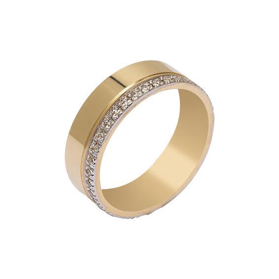Mücevher Dünyası - 14 Ayar Taşlı Tam Tur Tasarım Altın Alyans (Kadın)