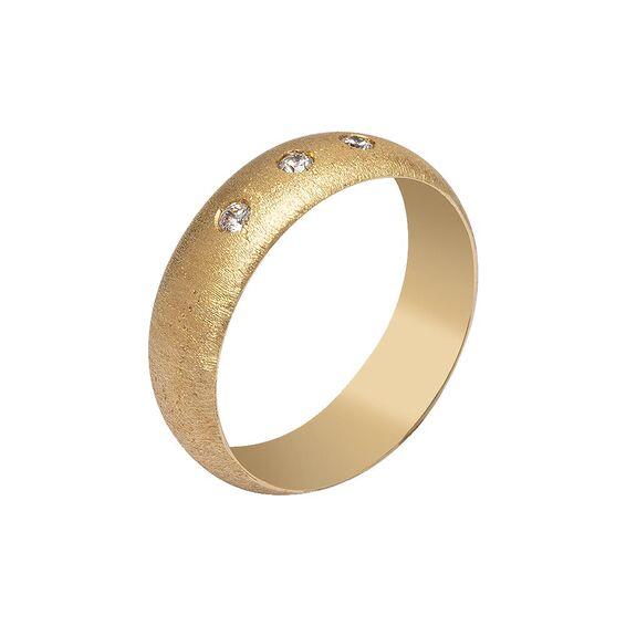 Mücevher Dünyası - 14 Ayar Üç Taş Simli Altın Alyans (Kadın)