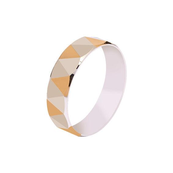 Mücevher Dünyası - 14 Ayar Üçgen Desen Altın Alyans (Erkek)